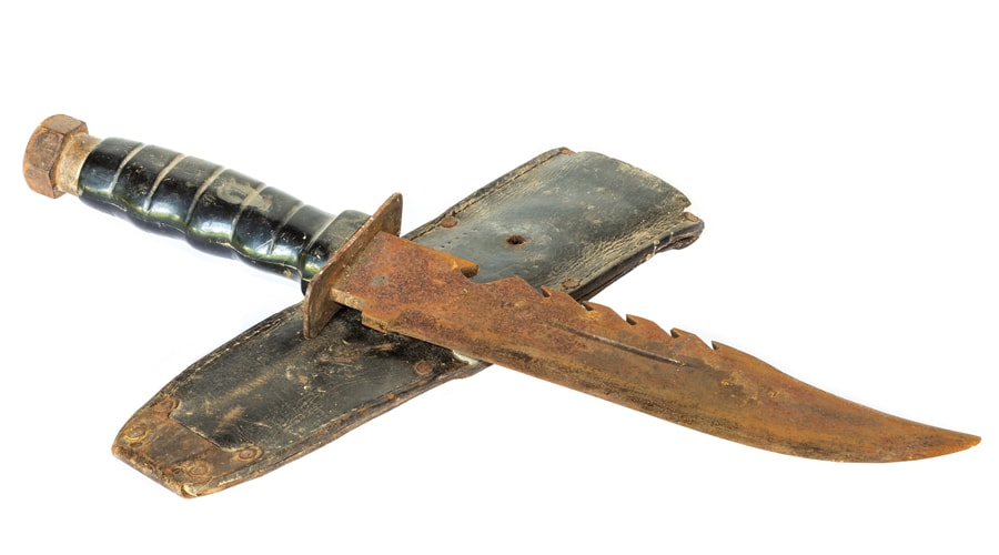 how to clean a rusty hunting knife